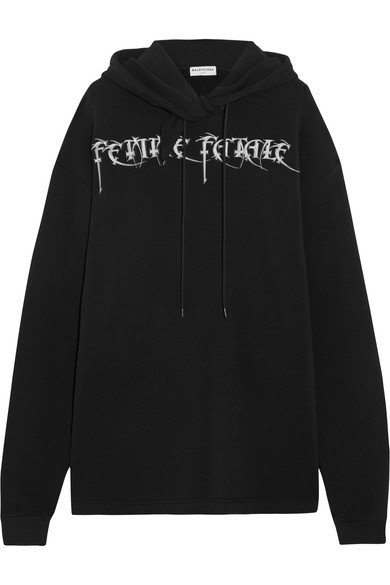 BALENCIAGA Femme Fatale oversized embroidered black stretch-jersey hooded top