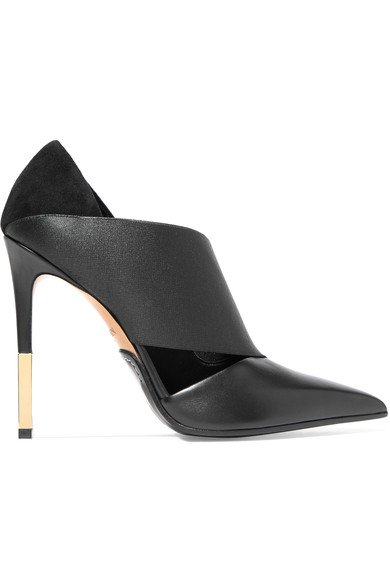 BALMAIN Audrey paneled leather, elastic and suede pumps