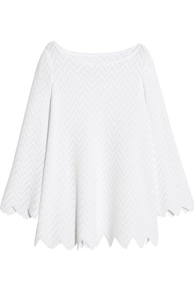 ALAÏA Zigzag-Pattern knitted women's white tunic - Featured