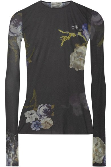 ACNE STUDIOS Niala lovely floral printed women's stretch-jersey top