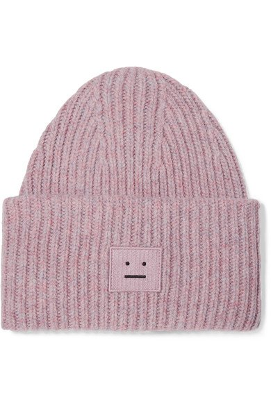 ACNE STUDIOS Pansy lovely pink appliquéd ribbed wool-blend beanie