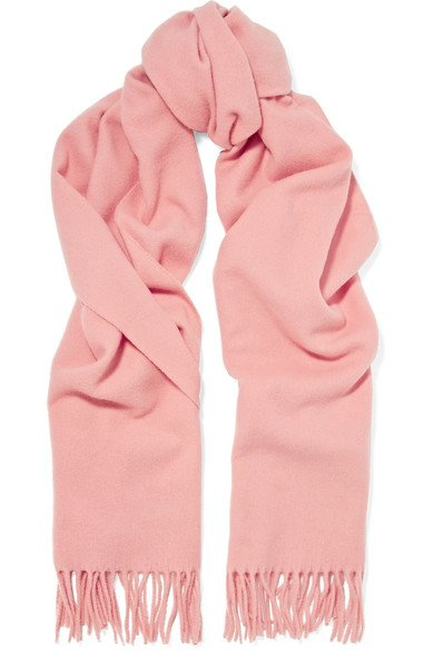 ACNE STUDIOS lovely Canada Narrow pink fringed wool scarf