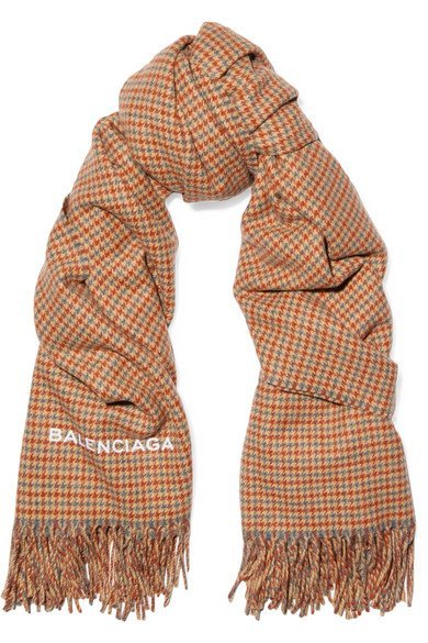 BALENCIAGA Houndstooth cashmere and wool-blend patterned scarf