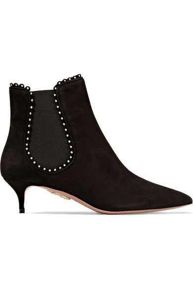 AQUAZZURA Jicky faux pearl-embellished suede ankle boots
