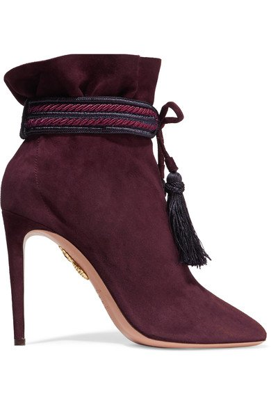 AQUAZZURA Shanty tasseled suede ankle boots