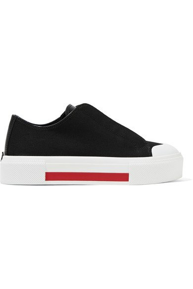 ALEXANDER MCQUEEN Leather-trimmed canvas women's black sneakers