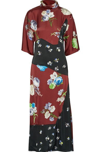 ACNE STUDIOS Dilona paneled printed satin midi dress