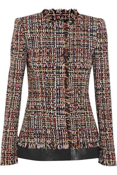 ALEXANDER MCQUEEN Women's Leather-trimmed fringed tweed jacket