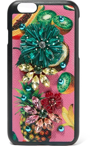 DOLCE & GABBANA Embellished playful printed textured-leather iPhone 7 case