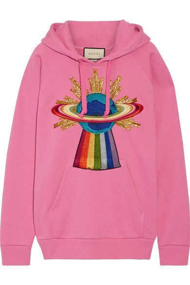 GUCCI cute Appliquéd pink cotton-jersey hooded top