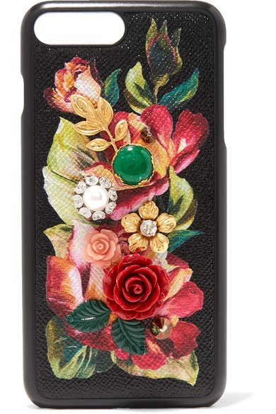 DOLCE & GABBANA stylish Embellished floral-print textured-leather iPhone 7 Plus case