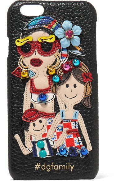 DOLCE & GABBANA colorful Embellished appliqued textured-leather iPhone 7 case