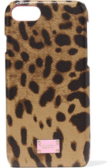 DOLCE & GABBANA fabulous Leopard-print textured-leather and shell iPhone 7 case