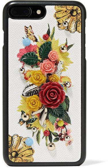 DOLCE & GABBANA Embellished floral printed textured-leather iPhone 7 Plus case