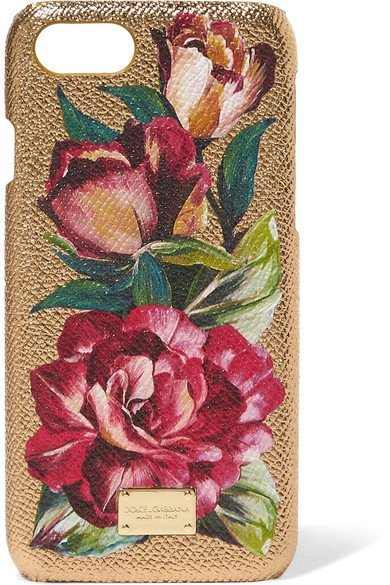 DOLCE & GABBANA stylish Textured-leather and metallic floral-print acrylic iPhone 7 case