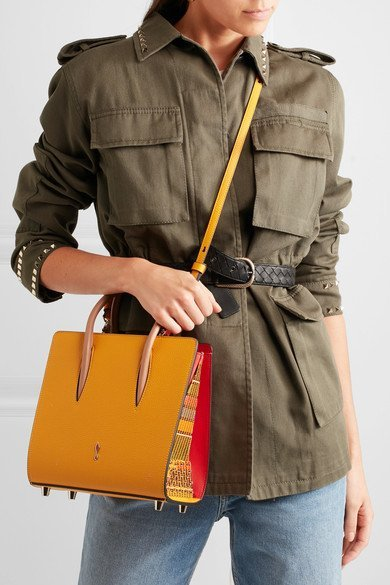b03214fc760 CHRISTIAN LOUBOUTIN Paloma small studded embroidered Mustard textured-leather  tote