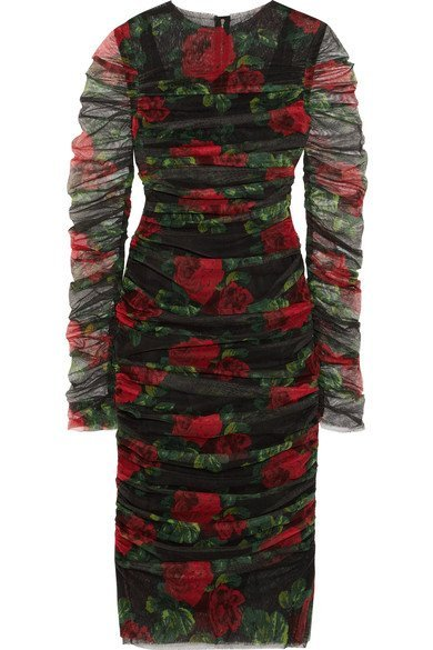 DOLCE & GABBANA Ruched floral-print multicolored cotton-tulle midi dress