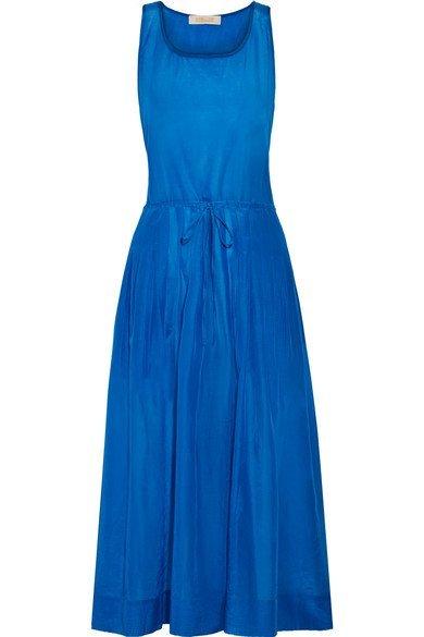 DIANE VON FURSTENBERG lovely Pleated cotton and silk-blend gauze midi dress
