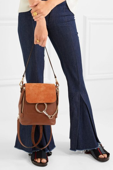 d2ea0213 CHLOÉ Faye small sophisticated leather and suede backpack - Humble & Rich  Boutique