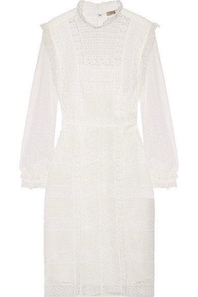 BURBERRY Stylish Tulle and cotton-blend lace dress