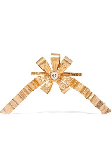 GUCCI women's beautiful Gold-plated faux pearl hair slide