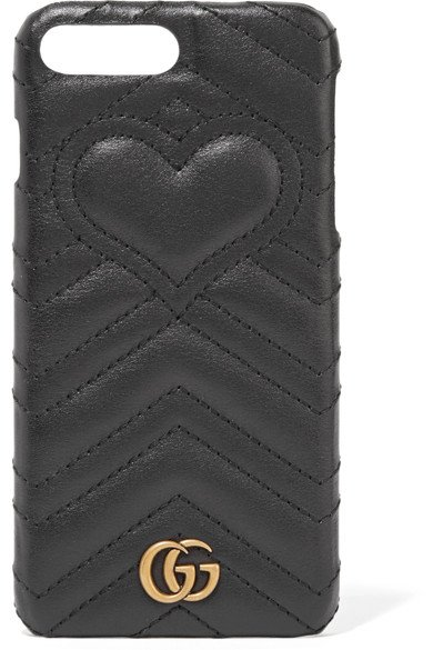 GUCCI GG Marmont classy quilted black leather iPhone 7 Plus case