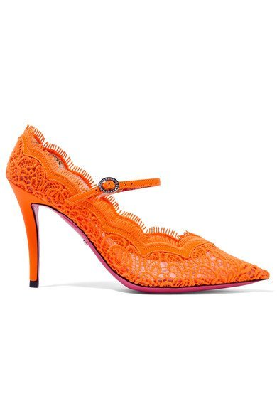 GUCCI Virginia fabulous crystal-embellished orange corded lace Mary Jane pumps