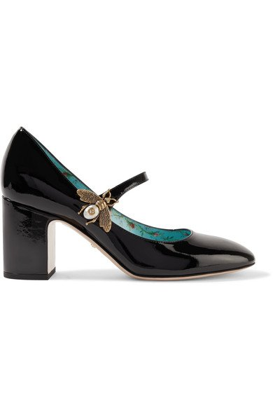 GUCCI Embellished pretty black patent-leather Mary Jane pumps