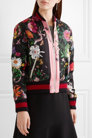 Gucci Glamorized Printed Silk Satin Bomber Jacket Humble Rich