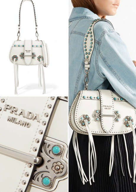 Prada Folk tasseled embellished leather shoulder bag