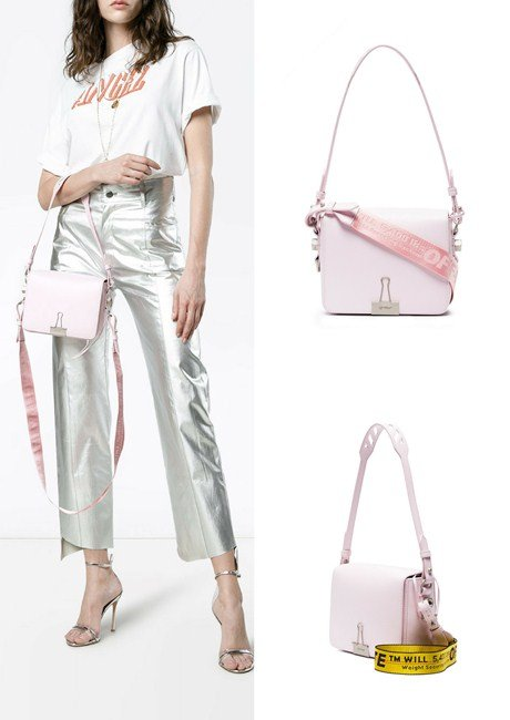 Off-White pink Binder Clip leather shoulder bag