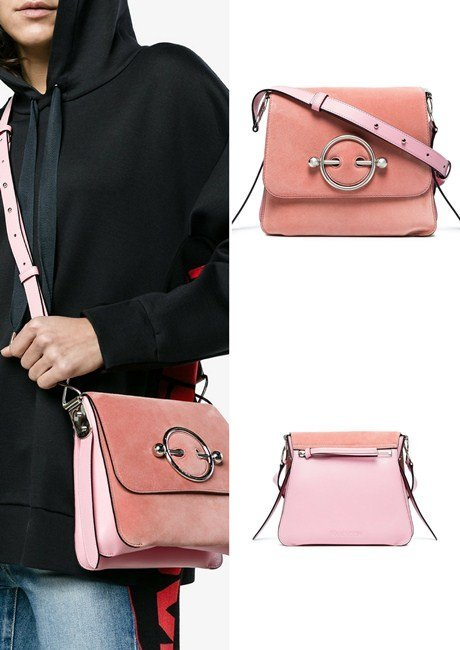 JW Anderson Pink Disc suede and leather cross body bag