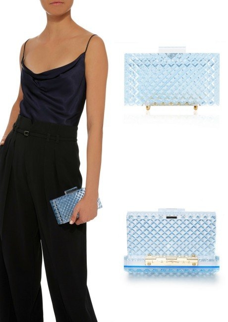 L'Afshar Crystal Cut Clutch