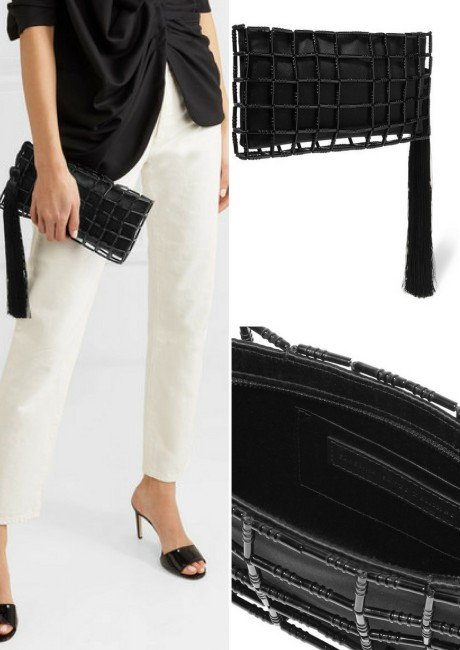 CAROLINA SANTO DOMINGO Stella bead-embellished satin clutch