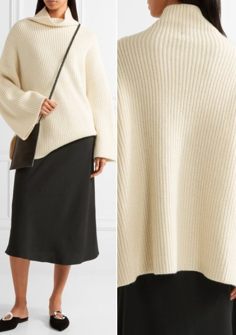 The Row Violina Alluring Oversized Ribbed Cashmere Turtleneck Sweater