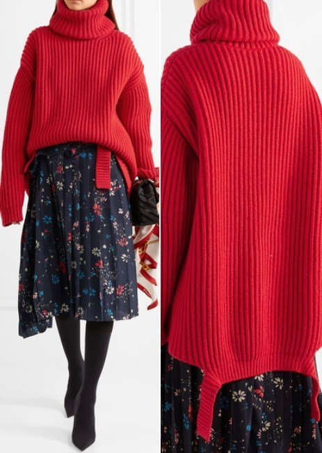 Balenciaga Oversized Ribbed Wool Turtleneck Red Sweater