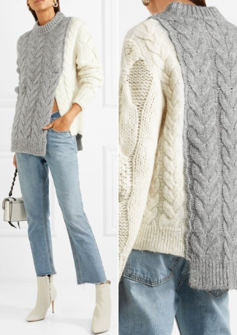 Moncler Cozy Two-Tone Cable-Knit Sweater