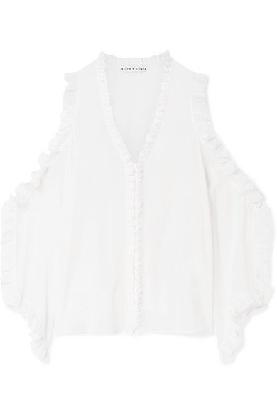 ALICE + OLIVIA Claudette mesmerizing ruffle-trimmed cold-shoulder white stretch-silk blouse