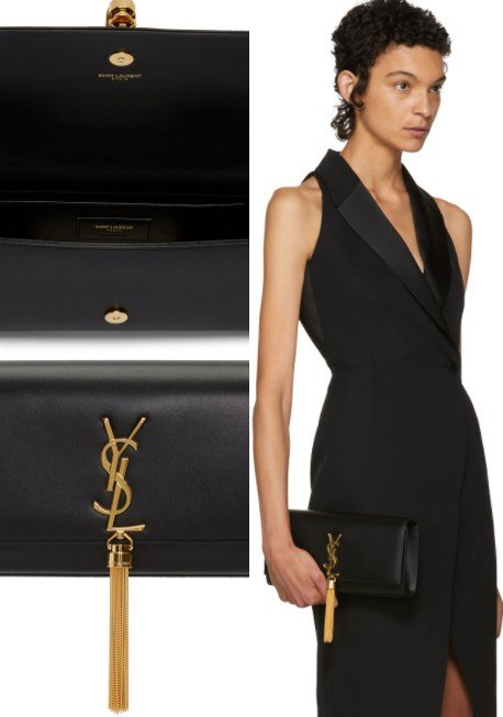 YVES SAINT LAURENT MONOGRAM KATE TASSEL CLUTCH