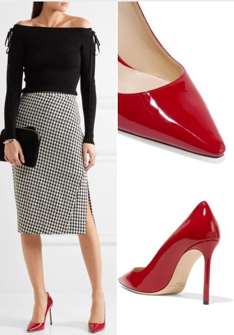 ROMY 100 RED PATENT-LEATHER PUMPS