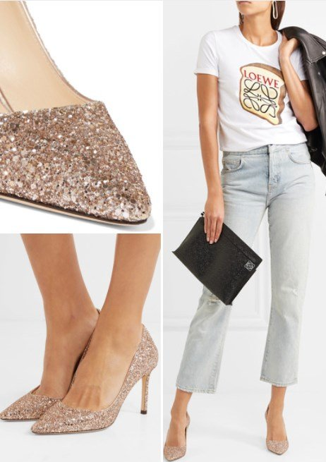 ROMY 85 GLITTERED LEATHER PUMPS
