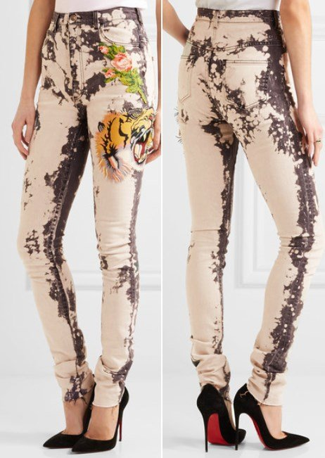 Gucci Fabulous Appliqued Bleached High-Rise Skinny Jeans