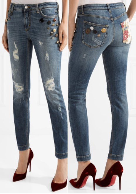Dolce and Gabbana Fashionable Embellished Distressed Mid-Rise Skinny Jeans