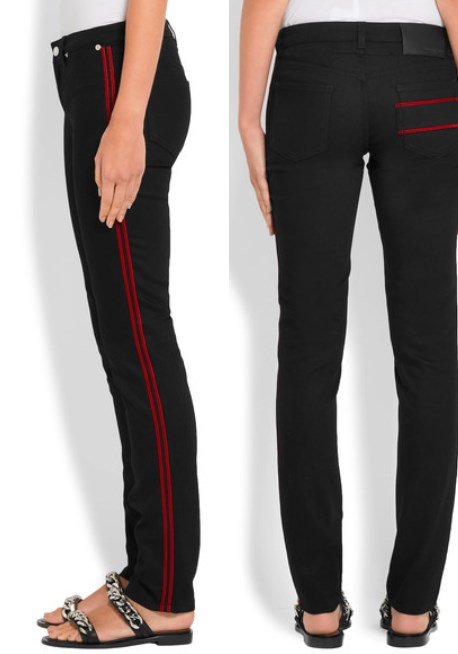 Givenchy Attractive Velvet Trimmed Mid-Rise Skinny Jeans