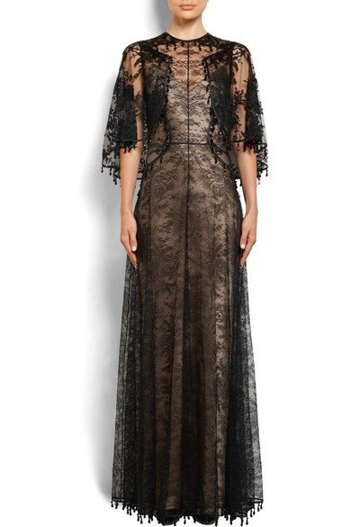 GIVENCHY-Cape-effect-embellished-Chantilly-lace-gown-3