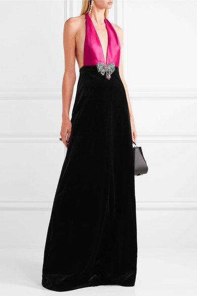 GUCCI-luxurious-Embellished-cotton-blend-velvet-and-silk-satin-halterneck-gown