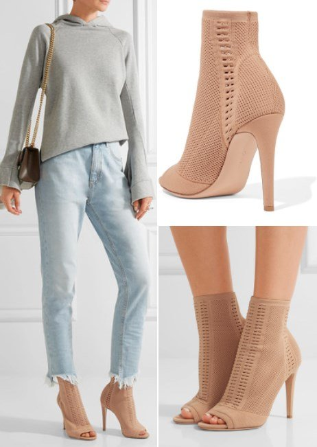 GIANVITO ROSSI VIRES PEEP-TOE STRETCH-KNIT ANKLE BOOTS