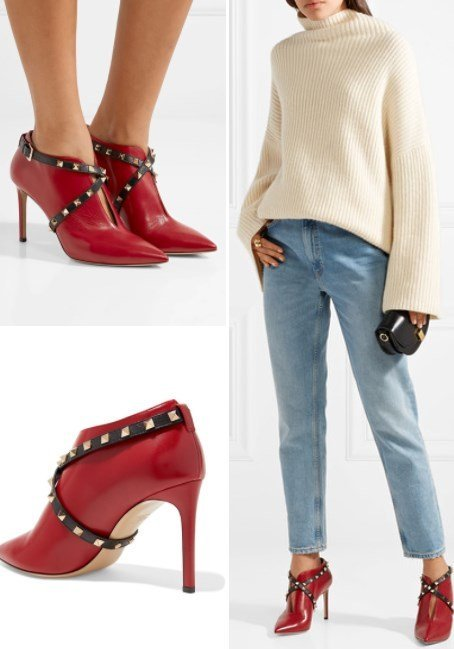 VALENTINO STUDWRAP ANKLE BOOTS