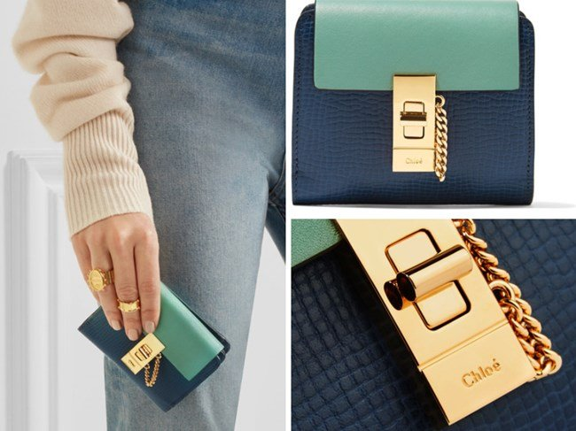 CHLOÉ DREW TWO-TONE TEXTURED-LEATHER WALLET