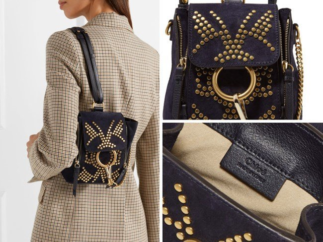 CHLOÉ FAYE STUDDED SUEDE AND LEATHER BACKPACK
